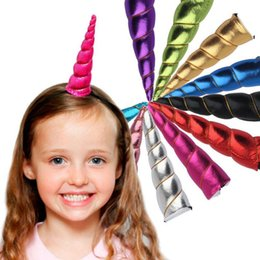 Diadema Decorativa Baratos-Unicornio Cuerno Headwear niños infantiles Cartoon Bandas de pelo Bonificación DIY Hairband Headband Halloween Navidad de pelo decorativo OOA3086