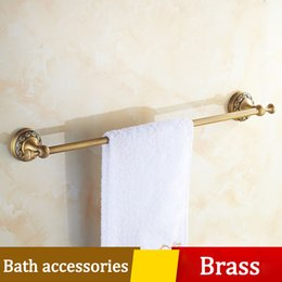 archaistic bathroom single towel rack multiple carving thickened pedestal toilet towel bar wall shelf set brass burshed hardware accessories discount brass