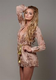 Barato Shorts De Roupa De Uma Peça Sexy-Sexy Deep V-neck Hollow Out Lace Sequin One Piece Party Playsuit Mulheres Long Sleeve Short Pant Jumpsuit Romper KD-016