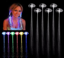 $enCountryForm.capitalKeyWord Australia - Luminous Light Up LED Hair Extension Flash Braid Party girl Hair Glow by fiber optic For party christmas Night Lights free shipping