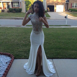 top hot sexy picture 2021 - Hot Sale See Through Top High Neck Crystal Beaded Mermaid Prom Dresses Sexy Side Split Evening Party Dresses Custom Made Prom Gowns
