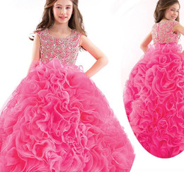 Angels pAgeAnt dress online shopping - 2016 Puffy Angel Luxury Girls Pageant Gowns Beauty Pageant Dresses For Children Kids Ball Gowns Princess Party Dresses Ruffles Cute