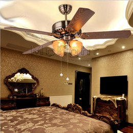 Wholesale New Arrival Cheap Retro Ceiling Fan Lights 5 Blades 52 Inches Lighting For Dining Room Fixture Foyer Lamp Fans Light