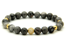Wholesale 1PCS High Grade Jewelry mm Grey Picture Jasper Stone Beads Micro Pave Black and Gold CZ Beads Bracelets Mens gift