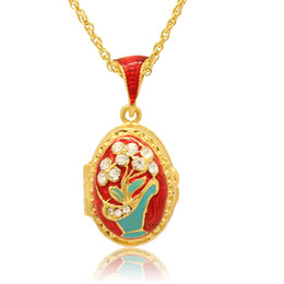 18k white gold chain styles UK - Enameled Flower Basket Faberge Egg Pendant Easter Egg locket for Russian Style Necklace with Crystal and Gold Plated Chain