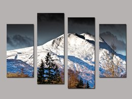 floral oil paintings 2019 - 4 PCS Canvas Wall Paintings Snow Mountain Wedding Decoration Decorative Oil Painting Canvas Prints For BedRoom Without F