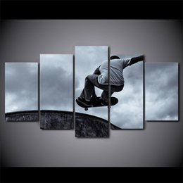 Discount framed sports posters - 5 Pcs Set Framed HD Printed Vintage Skateboard Sports Canvas Art Painting Poster Picture For Room Wall Decorativo