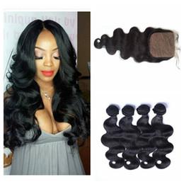 China 4x4 Silk Base Closure With Bundles Natural Black Unprocessed Human Hair Peruvian Body Wave Virgin Hair With Closure 5pcs Lot G-EASY cheap cambodian hair bundles silk closures suppliers