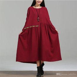 $enCountryForm.capitalKeyWord Canada - Autumn Dress Long Sleeve Cotton Linen Dress Vestido De Festa Maxi Dress Black Red Winter Dress Plus Size Women Clothing