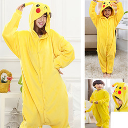 9ea9d2be9f65 Winter Flannel Family Matching Clothing Pikachu Onesies Parent-Child  Hoodies Children Adult Cosplay Costume Pajamas Sleepwear HH-C36