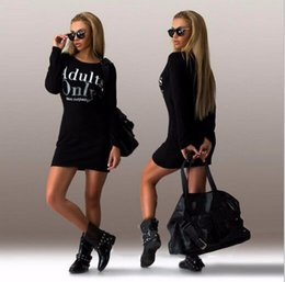 Barato Camisola Preta Longa Hoody-2016 Brand New Hoody Mulheres Black Gray Sweater Dress Fleeced Letter Imprimir Manga Comprida Slim Maxi Vestidos S M L XL Casual Dress