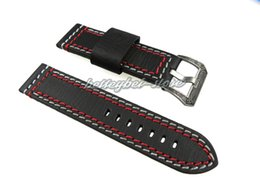 watch band for panerai 2019 - 24mm Men Lady Genuine Leather Black with Red White Stitches Thick Watch Band Strap Belt Engraving Black in Silver Tongue