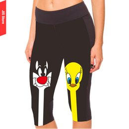Leggings Imprimés Pour Les Femmes Pas Cher-Grossiste-Lady Femme jambières de yoga pour les femmes Black Cartoon Leggings d'été Fitness Warm Sexy imprimé 3D Autumn Run Pants Europe Style