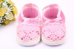 Enfant En Bambou Crochet Pas Cher-Summer New European Style Girls Lovely Princess Hollow Crochet à la main Baby Soft Bottom Toddler Shose Bow Baby Shose