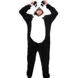 Flannel Hoodie UK - Panda Unisex Flannel Hooded Pajamas Adults Cosplay Cartoon Cute Animal Onesies Sleepwear Hoodies For Women