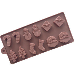 Silicone Snowman mould online shopping - Silicone Cake Molds Silicone Molds Snowman Christmas Tree Wand Socks Brown Chocolate Molds Baking Tools