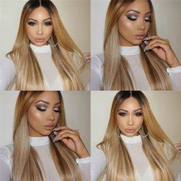 1b 27 ombre straight brazilian hair Canada - Brazilian Human Hair Glueless Wigs 1B 27 Ombre Silky Straight Middle Part Full Lace Wigs 130% Density For Black Women