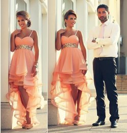 Robe De Bal Asymétrique Organza Pas Cher-2016 Sexy Pink Asymétrique Hi-lo robe de cocktail Spaghetti Sweetheart robe de bal sans manches avec Sequins Cristaux Sash