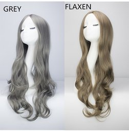 Long Hair Wave Style Australia - Z&F Harajuku Style Long Curly Hair European Wig With Deep Wave Split Into Bangs Wholesale Fashion Wigs Grey Flaxen 72CM