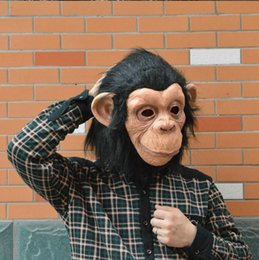 Wholesale adult fancy halloween monkey costume for sale – halloween Latex Animal Chimp head Mask Monkey Fancy Dress Lazy Bruno Mars Song Chimpanzee Cosplay Mask Costume Theater Prop Halloween
