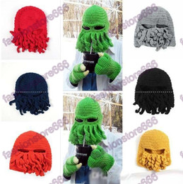 2fc20ab9d84b6 Winter Octopus Hats Novelty Handmade Knitting Wool Funny Beard Caps Crochet  Knight Beanies For Men Women Christmas Gift