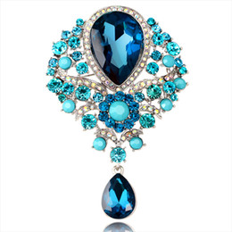 water drop brooches Australia - Rhinestone Water Drop Brooches Pin Accessories for Women Brooch Pins Jewelry Wedding Decoration 10pcs lot#S