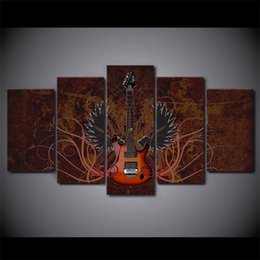 paintings guitars wall 2019 - 5 Pcs Set Framed HD Printed Abstract Wing Guitar Music Canvas Poster Picture Home Decor Decorative Wall Art Oil Painting