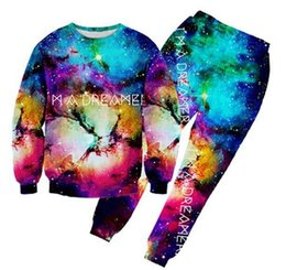 women joggers suits UK - 2016 new fashion men women joggers and sweatshirt suit 3d print I AM A DREAMER hoodies Galaxy Clothes sport tracksuits
