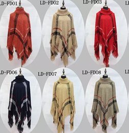 $enCountryForm.capitalKeyWord NZ - Plaid Poncho Women Tassel Blouse Knitted Coat Sweater Vintage Wraps Knit Scarves Tartan Winter Cape Grid Shawl Cardigan Cloak 12 pcs