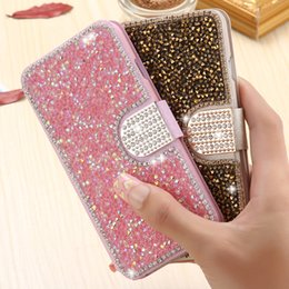 Luxury Credit Card Iphone Canada - Luxury Full Body Bling Diamond Flip Leather Wallet Case Credit Card Slot Stand Holder Cover For iPhone 5s 6s Plus Samsung S6 S7 A5 A7