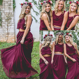 Junior Plus Size Wedding Guest Dresses NZ - Burgundy Wine Red Two Pieces Country Long Bridesmaid Dresses 2018 Custom Plus Size Crop Top Junior Maid of Honor Wedding Guest Holiday Dress