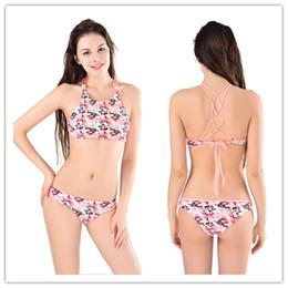 ea99b1ffd3470 Strappy Bikini Set Canada - 2016 Sport Swimwear push up Women Bikini Set  Beachwear Flowers High