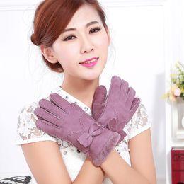 $enCountryForm.capitalKeyWord Australia - Wholesale- Genuine sheepskin gloves handmade butterflies hairy female models leather fur gloves female winter