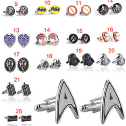 Chemises Supermen Pas Cher-Beatles Doctor who Iron man bat batman superman Deadpool Supernatural Cufflink Manchette chemises pour hommes robe costume Cuff link cadeau de Noël