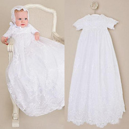 $enCountryForm.capitalKeyWord NZ - Cute First Communion Dresses Ivory White Champagne Vintage Lace Short Sleeves Christening Gowns Long Formal Baptism Dress with Sash