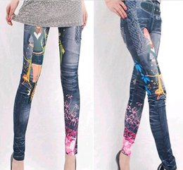 Barato Jeans Grátis Para Senhoras-Senhora colorida Leggings Jeans Cheap Ripped Denim Spandex Graffiti Fitness Legging para as mulheres Calças Leggings Sexy Frete Grátis