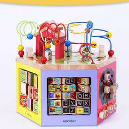 languages learning 2018 - HOT Wooden Toys Multifunctional Animal Beads Maze Baby Early Learning Toys Clock Blocks Calculation 6 Face With Large Bo