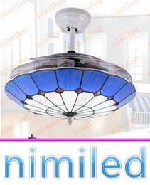 "lamp acrylic chandeliers 2019 - nimi887 36"" 42"" Invisible Mediterranean Ceiling Fan Lights 3 Acrylic Blades Restaurant Chandelier Living Room"