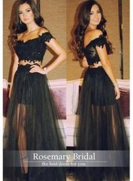 Barato Rendas Peças Applique Preto-Off Shouder Cap Sleeves Preto Prom Dresses 2016 Lace Appliques Beads Curto Dentro Longo Exterior Duas Peças Evening Prom Vestidos 2016 Hot Sale