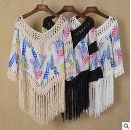 $enCountryForm.capitalKeyWord Canada - Women beach bikinis cover ups lace tassel swimwear loose blouses summer sunscreen swimsuit shirt crochet hollow sexy seaside holiday tops