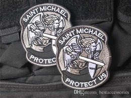 $enCountryForm.capitalKeyWord NZ - 2.8*3.3 inch high quality 3D Patches Protect Us Embroidered patches with magic tape saint michael armband military badge GPS-039 GAME patch