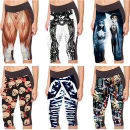 Pantalons Courts Jogging Pas Cher-High Waist Capri Pantalons Exercice Sports Cropped Mode Jogging Human Short Legging Workout Muscle Musculaire Skull Skeleton Bride LN7Slgs