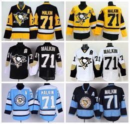 Pittsburgh Penguins 71 Evgeni Malkin Hockey Jerseys Winter Classic Malkin Penguins  Jersey Retro Black Blue White Yellow e378de819