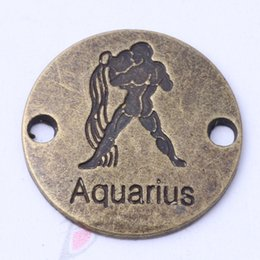 aquarius jewelry 2021 - AQUARIUS hand flake round charms antique silver bronze DIY jewelry fit Necklace or Bracelets 100pcs lot 3113z