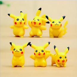 Pokemon Wholesale Figure Australia - new lovely Poke version PVC toys 3cm Pikachu Collectible Action Figure doll toys yellow Pikachu gift 6 style Monster toys