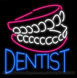Dental glasses online shopping - Dentist Teeth Neon Sign Custom Real Glass Tuble Store Shop Display Dental Hospital Advertising Sign Tooth Cleaning Sign quot x24 quot