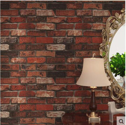 roll blocks Australia - Hot 3D Luxury Wood Blocks Effect Brown Stone Brick 10M PCV Wallpaper Roll Living Room Background Wall Decor Art Wall Paper