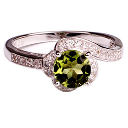 Birthstone Gifts NZ - Fine Jewelry Natural 7mm Green Peridot Ring 925 Sterling Silver August Birthstone Birthday Gift for Women R011GPN