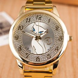 Cat design watChes online shopping - Cute Cat Design Stainless Steel Casual Watch Man Woman Brand New Dress Watch Fashion Luxury Quartz Watch