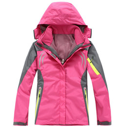 Barato Jaqueta Jaqueta Xxl-Wholesale-2016 Mulheres caminhadas Vestuário Outdoor Sport Windbreaker Skate Rain Coat Inverno Ski Tech Fleece Softshell Wateroproof Jacket 3in1